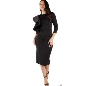 Black Side Ruffle Cocktail Party Career Midi Dress